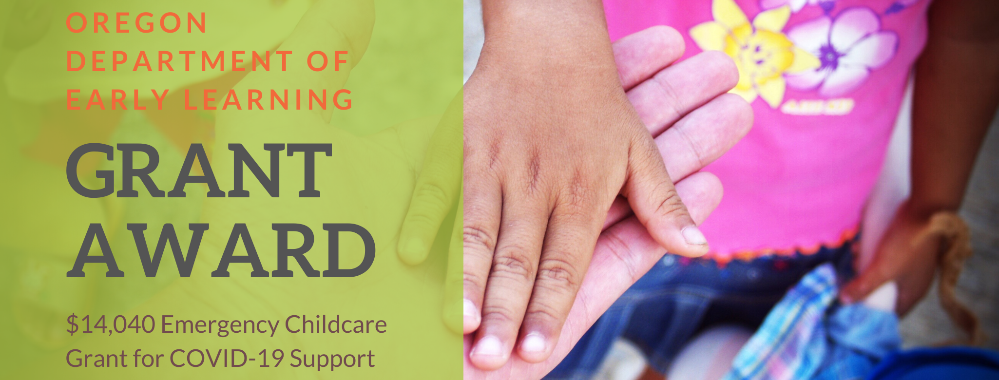FOR IMMEDIATE RELEASE For more information, contact: Jessica Gaul Executive Director 541-957-1008 Jessicag@cobbschool.org COBB CHILDREN'S LEARNING CENTER RECEIVES $14,040 EMERGENCY CHILDCARE GRANT FOR COVID-19 SUPPORT Roseburg, Oregon (07.20.20) — Cobb Children's Learning Center has received a $14.040.00 grant from the Oregon Department of Early Learning  to support its operations at Cobb Childcare and Preschool while […]